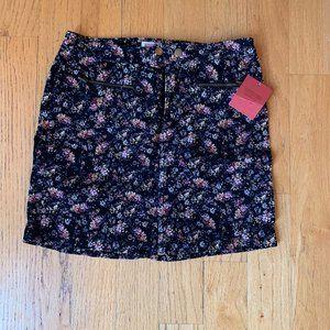 floral corduroy mini skirt